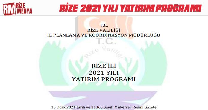 RİZE İLİ 2021 YILI YATIRIM PROGRAMI SEKTÖREL DAĞILIM