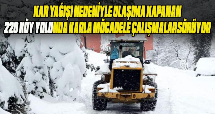 Rize il ve ilçelerde karla mücadele