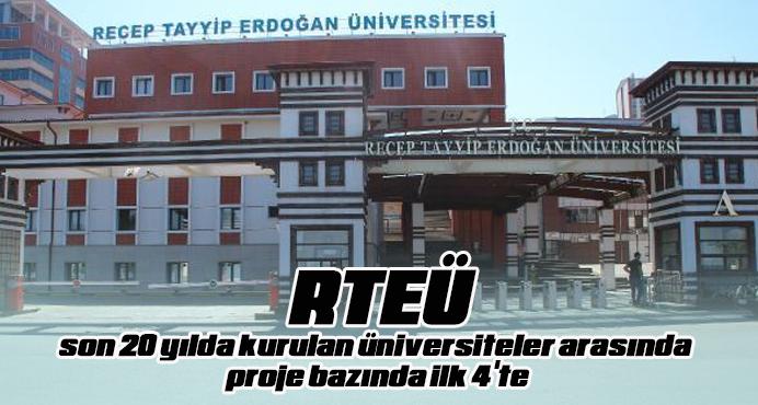 RTEÜ, son 20 yılda kurulan üniversiteler arasında proje bazında ilk 4'te