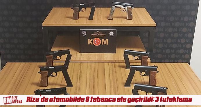 Rize'de otomobilde 8 tabanca ele geçirildi; 3 tutuklama