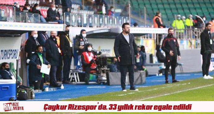 Çaykur Rizespor'da, 33 yıllık rekor egale edildi
