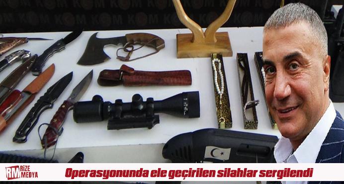 Sedat Peker grubuna yapılan operasyonunda ele geçirilen silahlar sergilendi