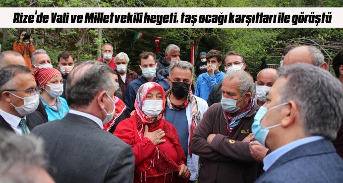 Rize'de Vali ve Milletvekili heyeti, taş ocağı karşıtları ile görüştü