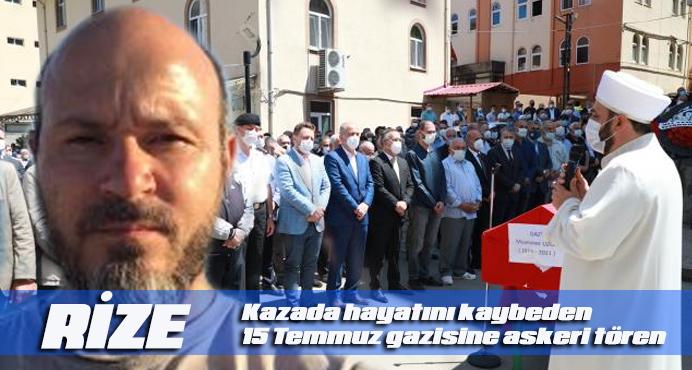 Kazada hayatını kaybeden 15 Temmuz gazisine askeri tören
