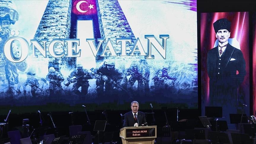 Milli Savunma Bakanı Hulusi Akar'dan, 18 Mart Şehitler Günü Töreni'nde teröre karşı ortak irade vurgusu